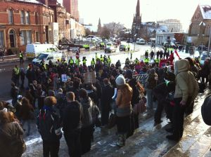 protest at University of Leeds