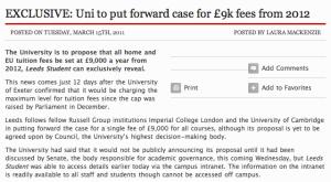 University of Leeds £9000 fees