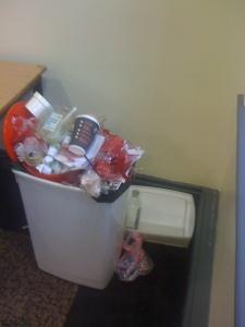 an overflowing bin