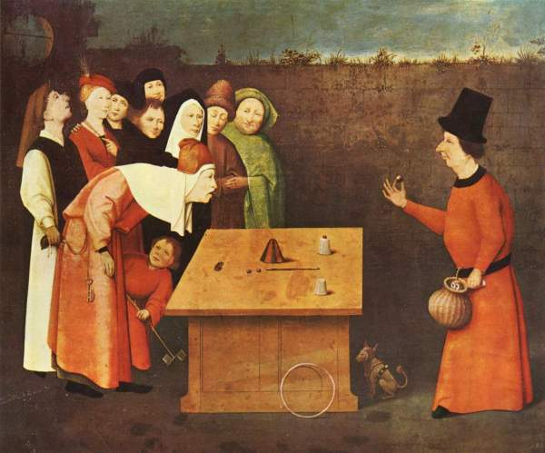 Bosch - A pickpocket works alongside  a conjurer